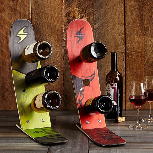 bridal shower gifts for bride - snow ski wine rack