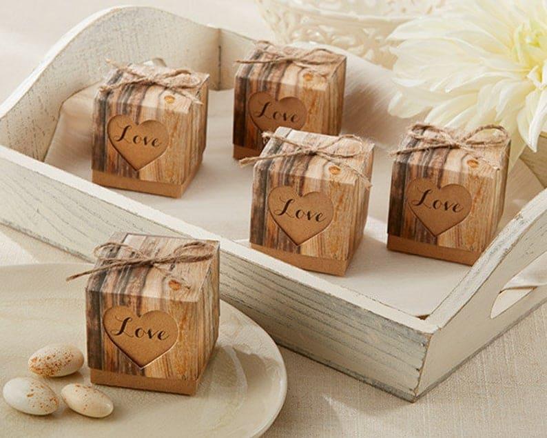 bridal shower party favor - rustic boxes
