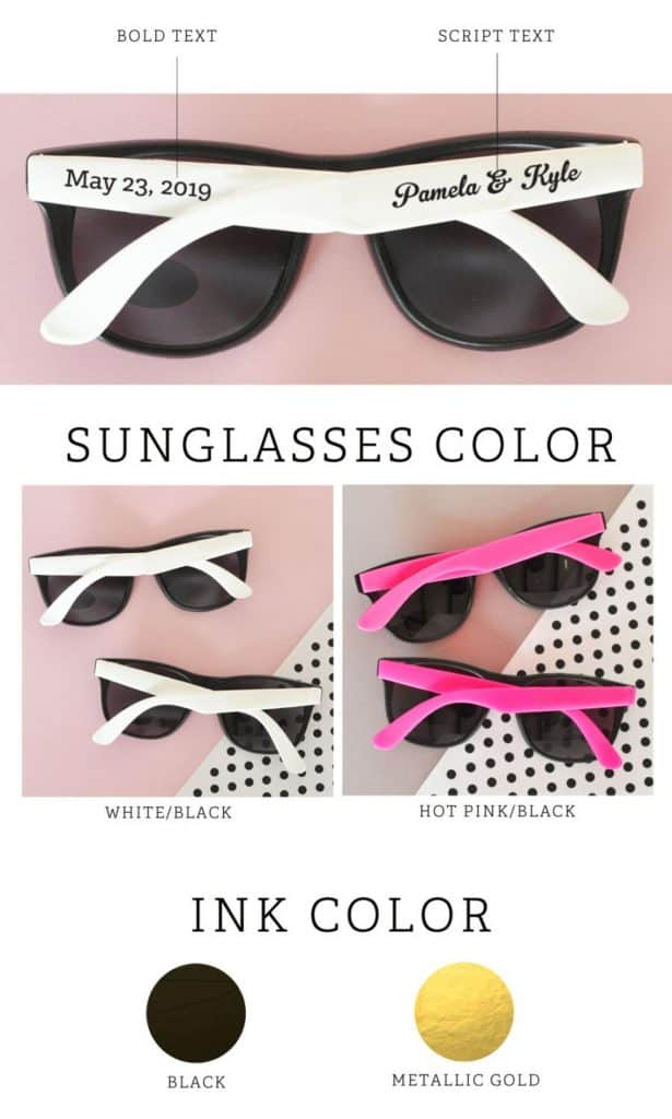 bridal shower favors - sunglasses custom