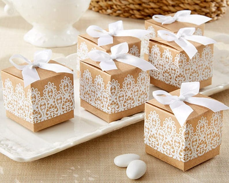 bridal shower favors - rustic boxes