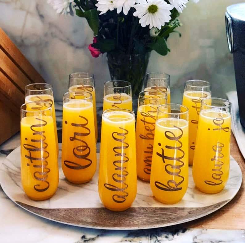 bridal shower favors - champagne flute