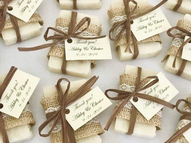 bridal shower favors - rustic soaps