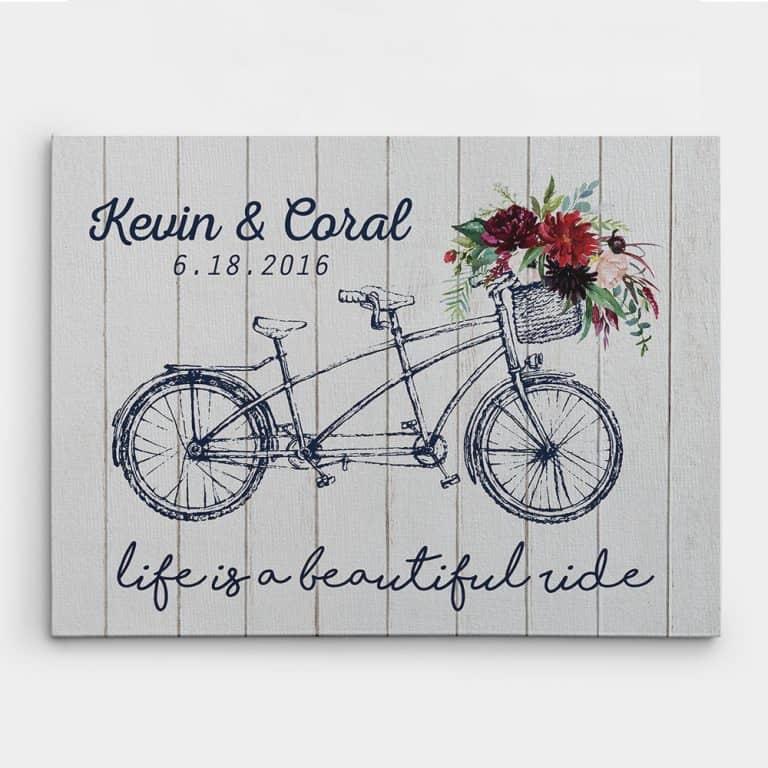 Wedding Tandem Bike Personalized Wedding Gifts Custom Canvas Print