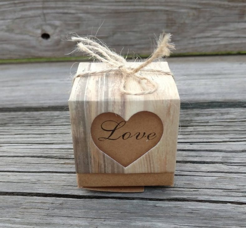 rustic box - bridal shower favors