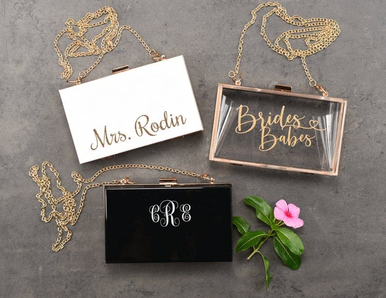 present for the groom - personalized clutch bridemaids