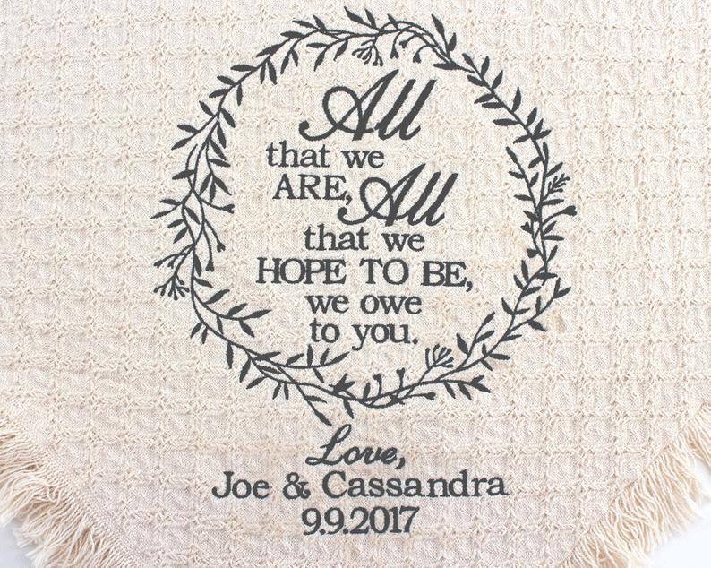 wedding gifts unique:All that we are Keepsake Blanket -