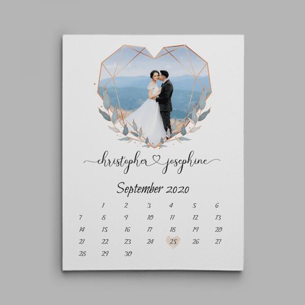 Calendar Love Anniversary Canvas Print