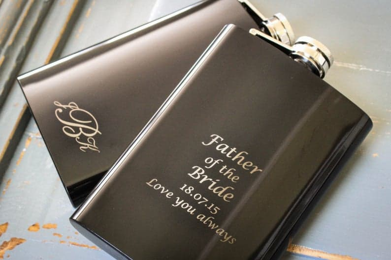 unique father of the bride gift ideas:Custom Black Flask