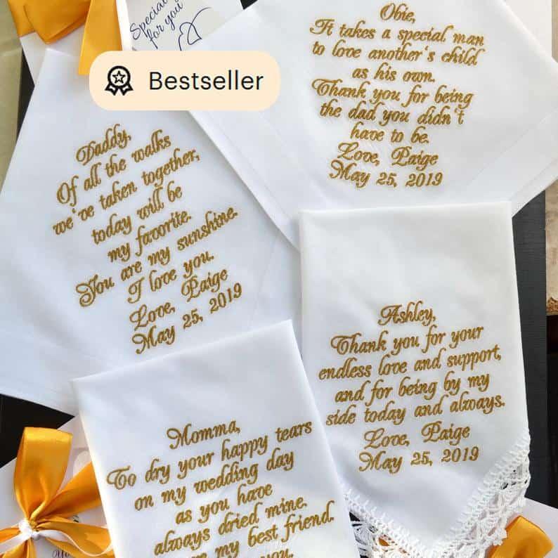 dad wedding gift:Custom Embroidered Wedding Handkerchief