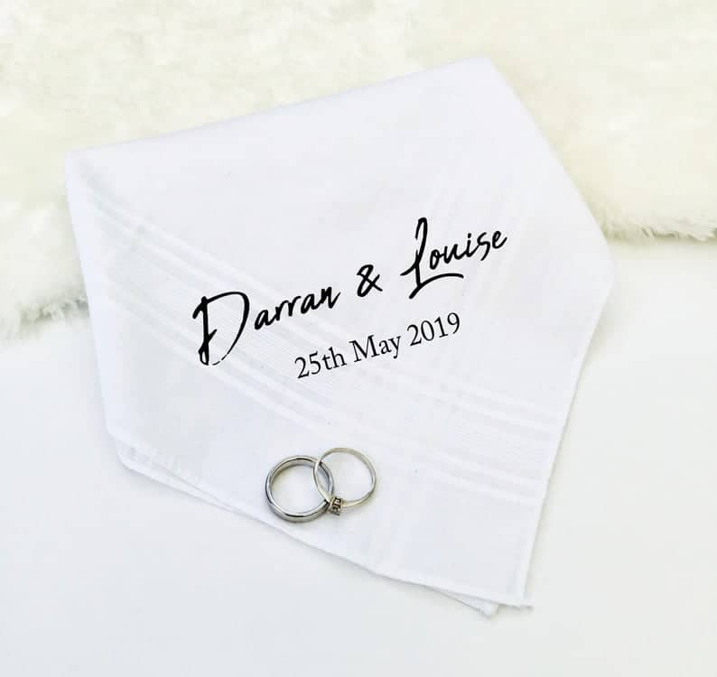 nice wedding presents:Custom Hanky, Personalised Handkerchief