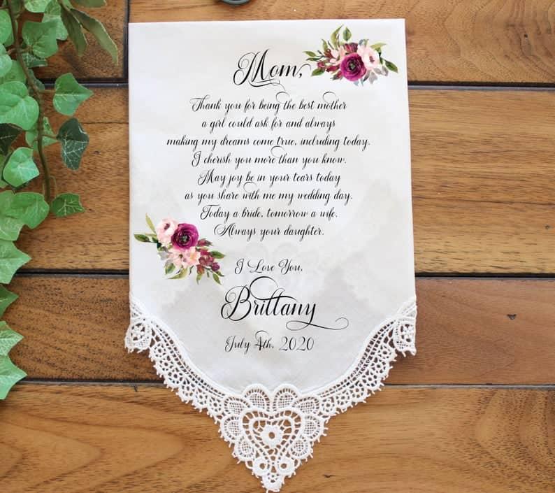 mother of bride gifts:Custom Wedding Handkerchief