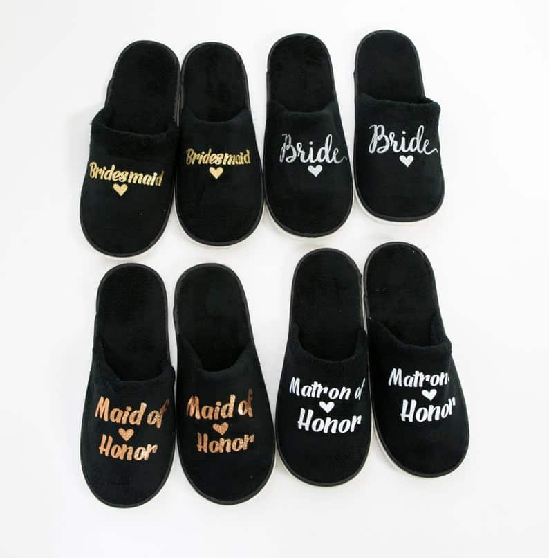thoughtful maid of honor gifts:Customized Slippers