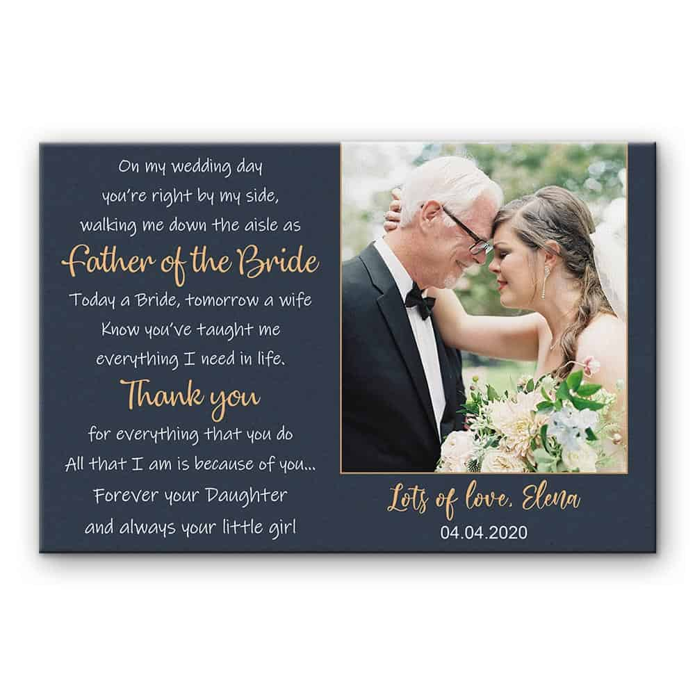 sentimental wedding gifts:Father of the Bride Poem Custom Photo Canvas Print