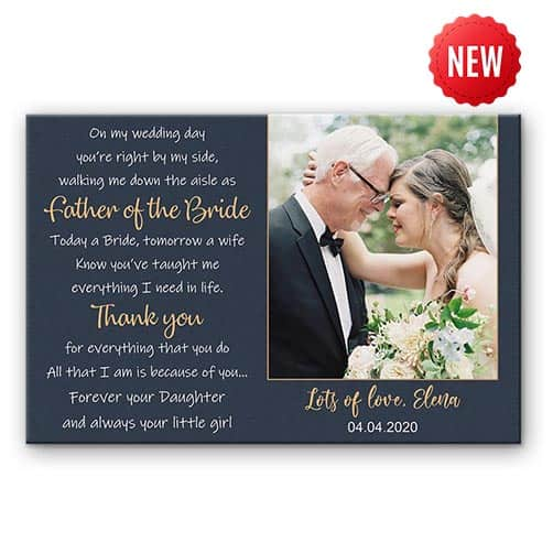 Father of the Bride Poem Custom Photo Canvas Print