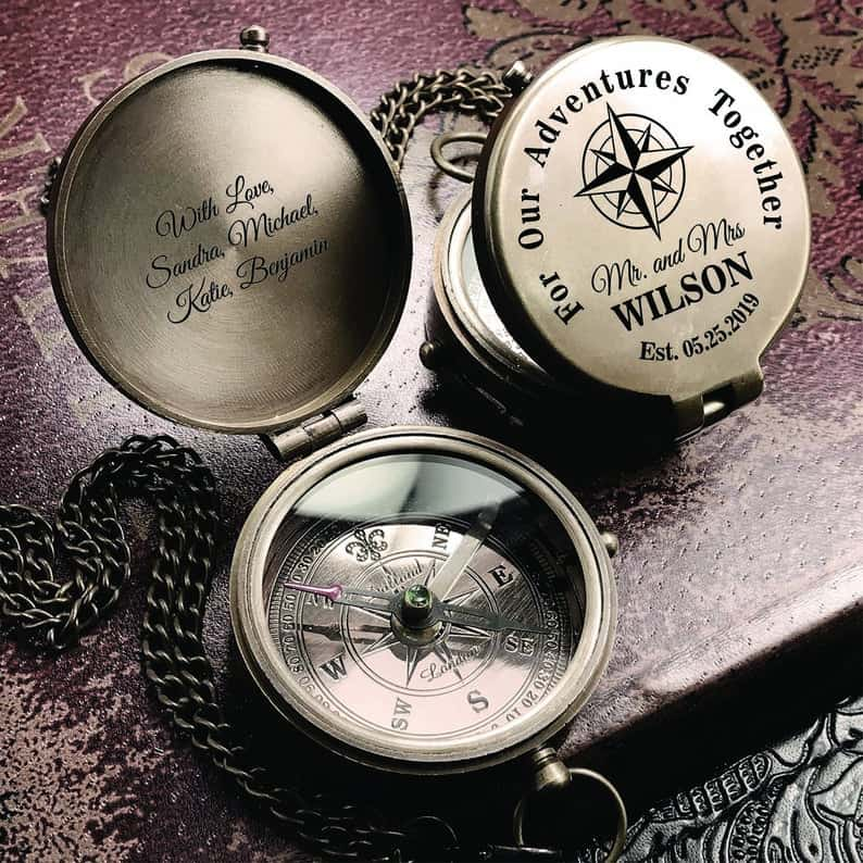 present from groom to bride:For Our Adventure Together, Personalized Compass