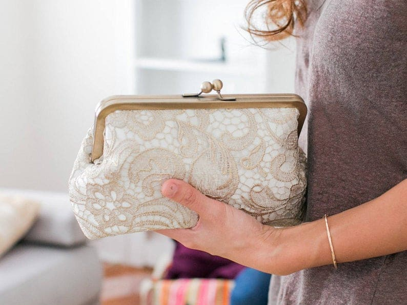 gift for mother of the bride:Gold Lace Bridal Clutch