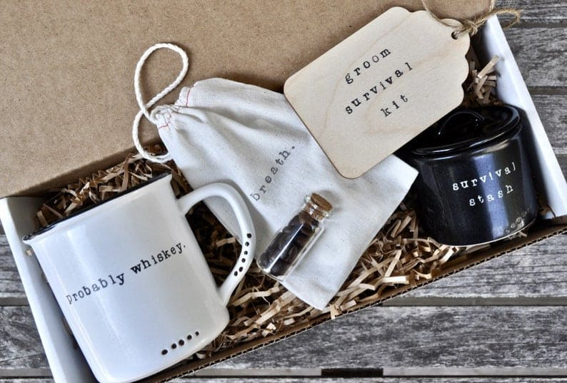 wedding party gifts for men:Groom survival kit box