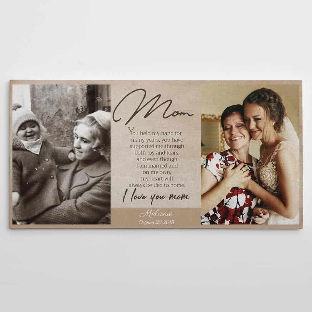 parents wedding gifts: I Love You Mom Poem Custom Photo Canvas Print -