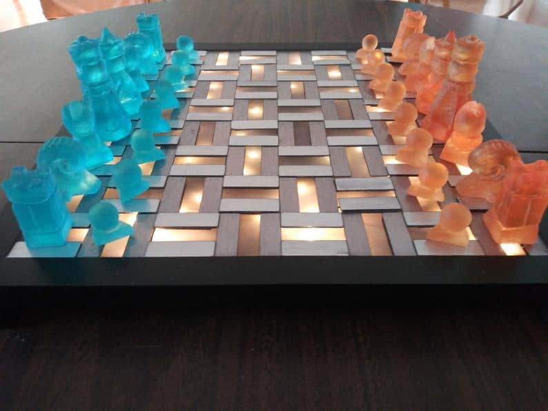 gift away for wedding:Jello Chess! Light Up Chess Set