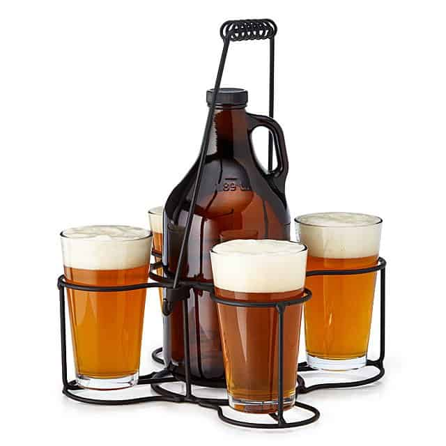 Outdoor Beer Growler Carrier and Glasses