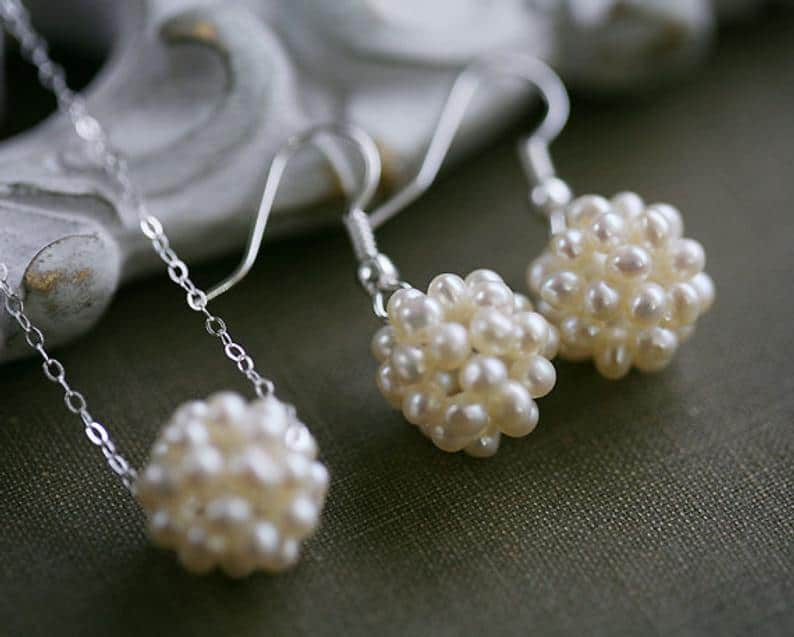 Pearl cluster necklace earring set