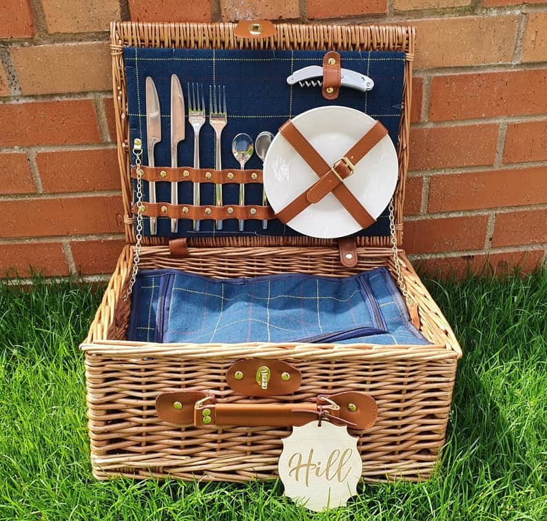 unique wedding registry items:Personalised 2 Person Picnic Basket