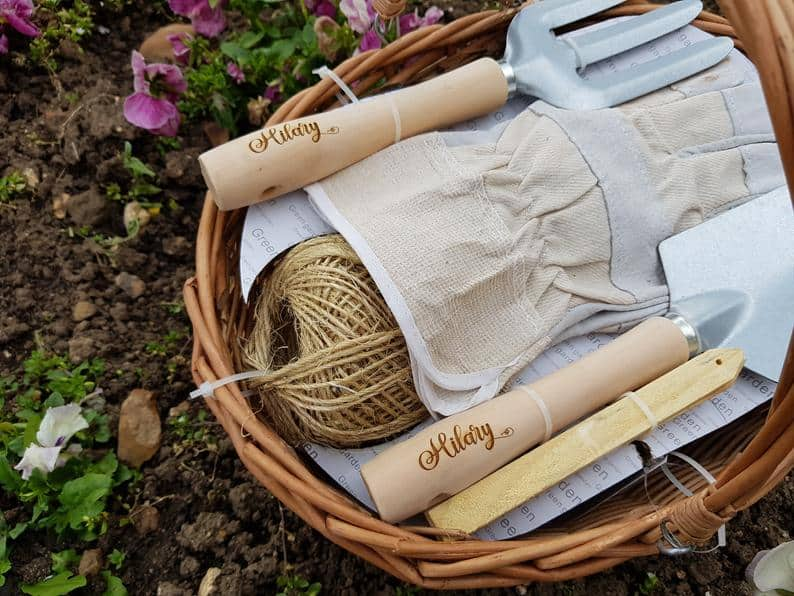 gifts for mother of groom:Personalised Garden tool gift basket