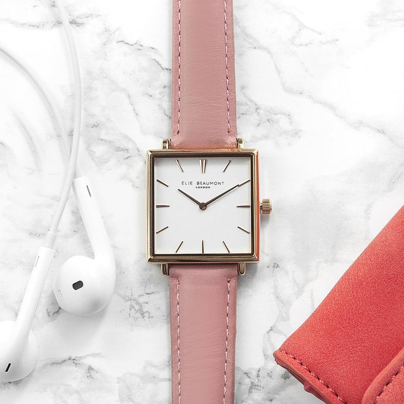 wedding gift ideas for maid of honor:Personalised Pink Blush Square Leather Watch