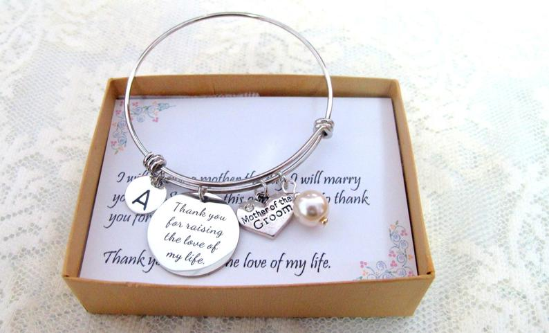 mother of the groom gift from bride:Personalized Bracelet