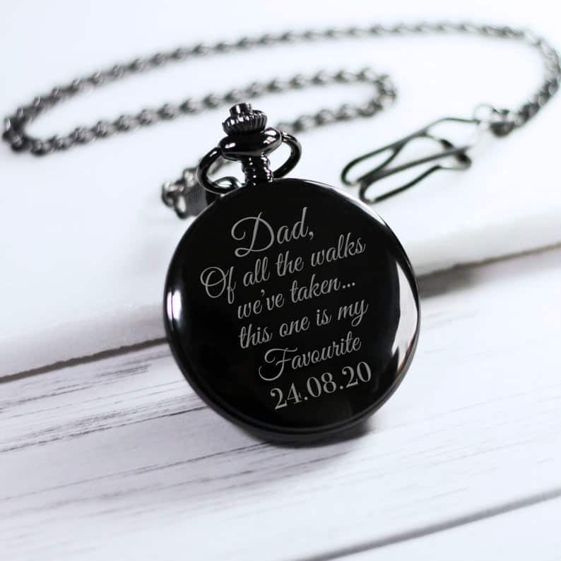 gifts for dad on wedding day:Personalized Engraved Black Pocket Watch