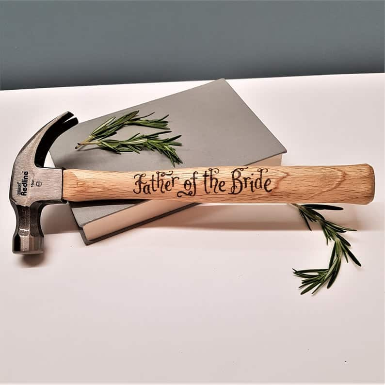 wedding gift for father of the bride:Personalized Father of the Bride Hammer