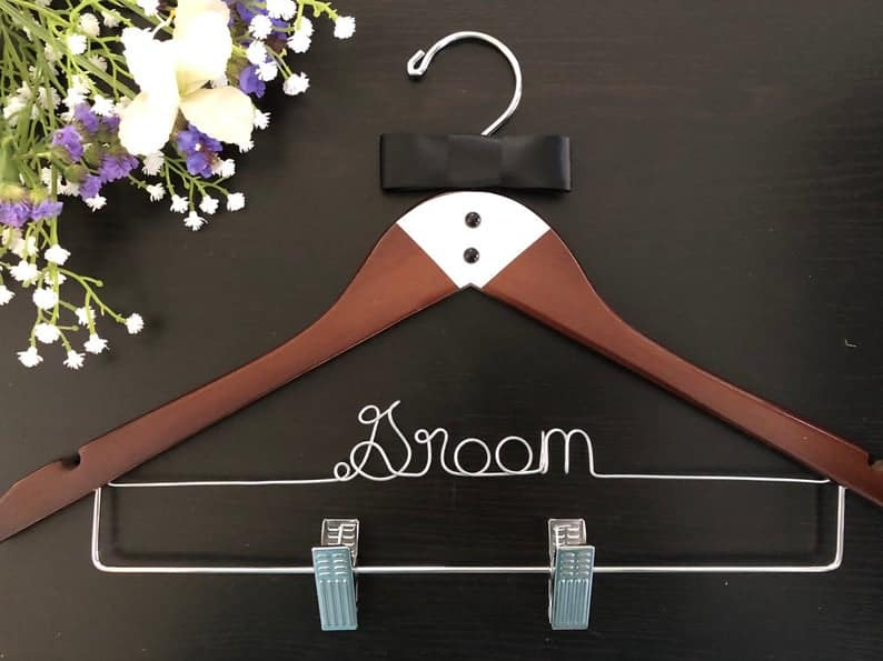 gift for new husband:Personalized Groom's hanger with clips