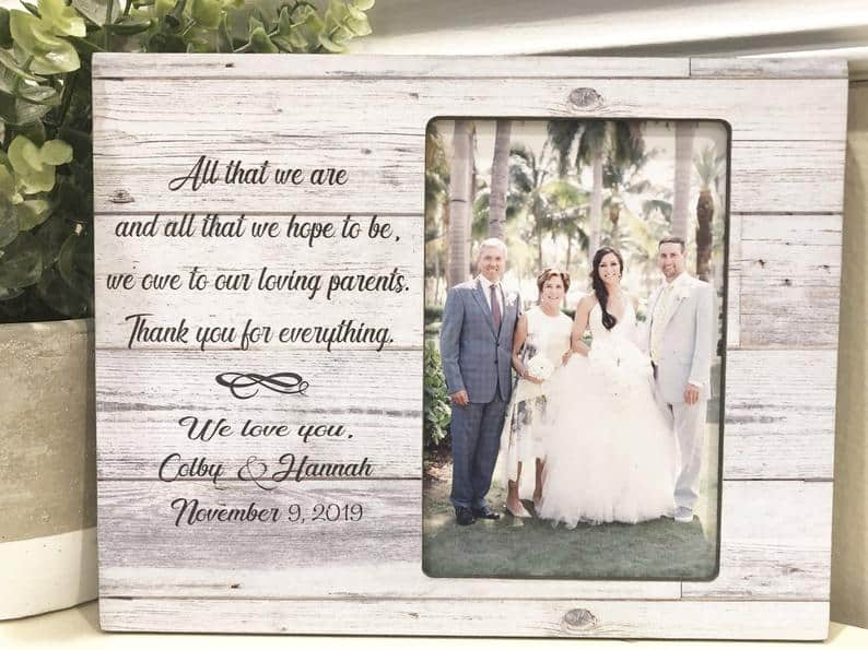 father wedding gifts:Personalized Parents Wedding Gift Parents Frame