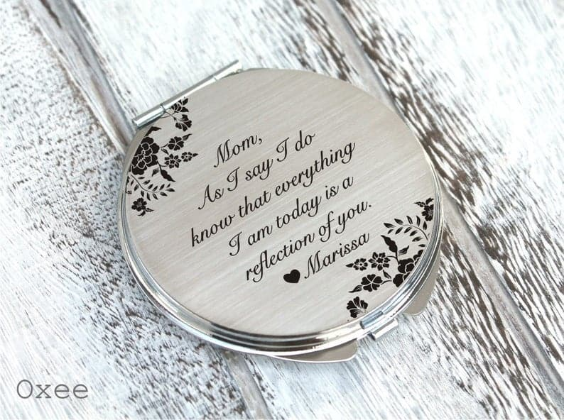 meaningful gifts for moms:Personalized Engraved Pocket Mirror
