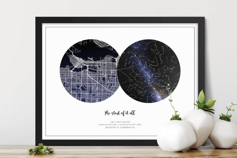 gifts to give groom from bride:Realistic Night Sky Map with City Map