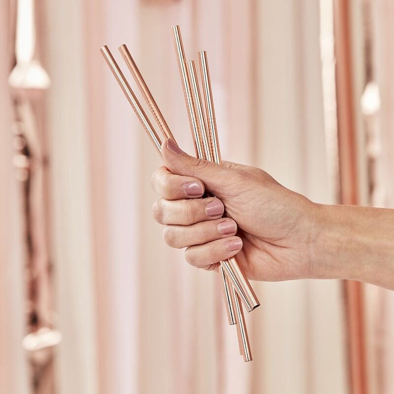 special gift for maid of honor sister:Rose Gold Party Straws