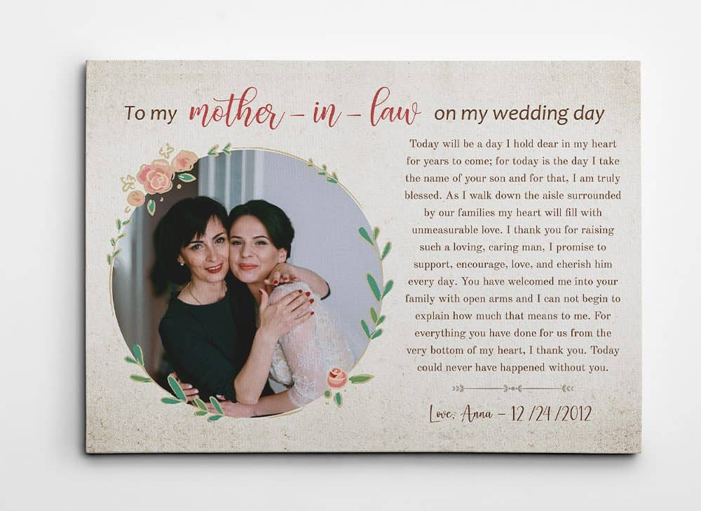 To My Mother In Law On My Wedding Day Photo Canvas Print