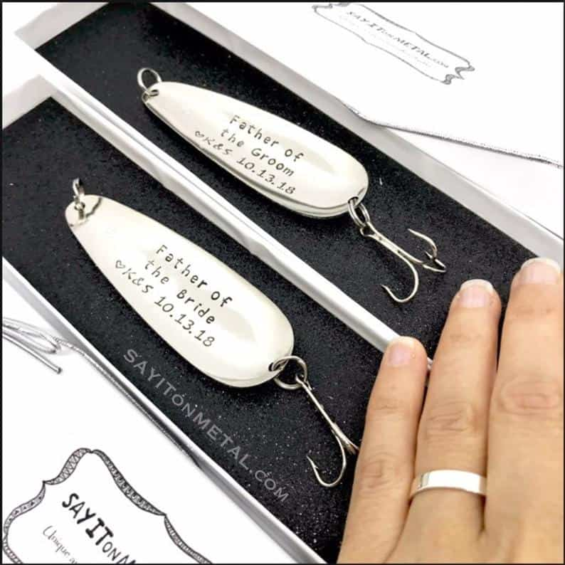 Unique And Personalized Hand-Stamped Lures for the Wedding Party