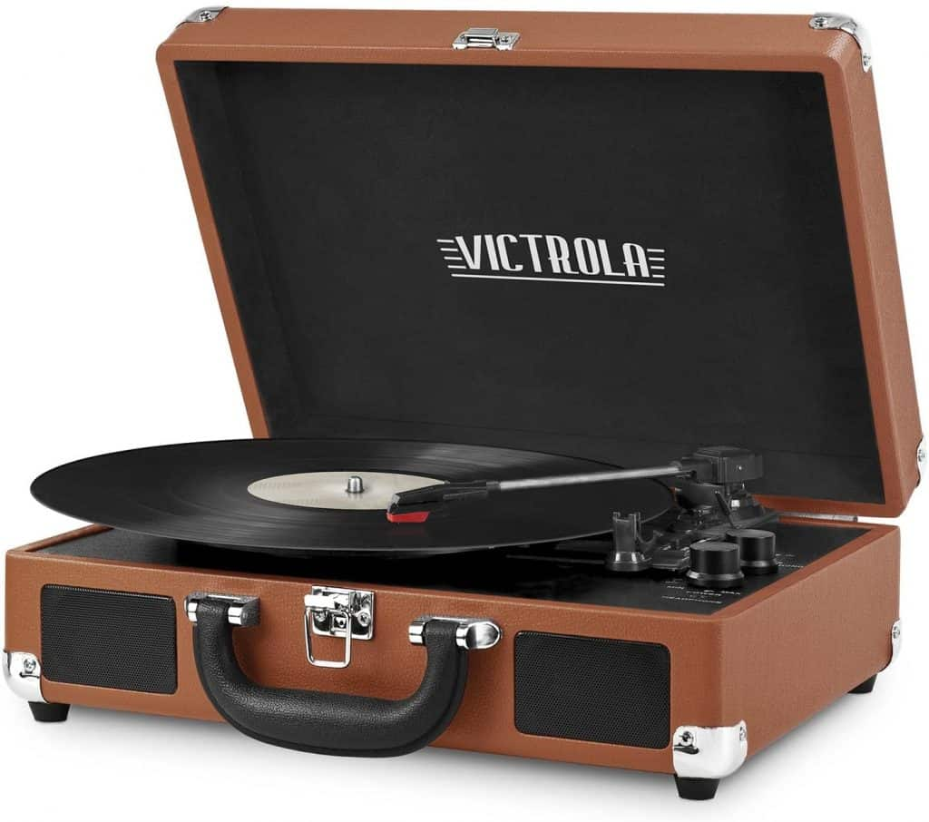 groom gift wedding dayVictrola Vintage 3-Speed Bluetooth Suitcase Turntable with Speakers
