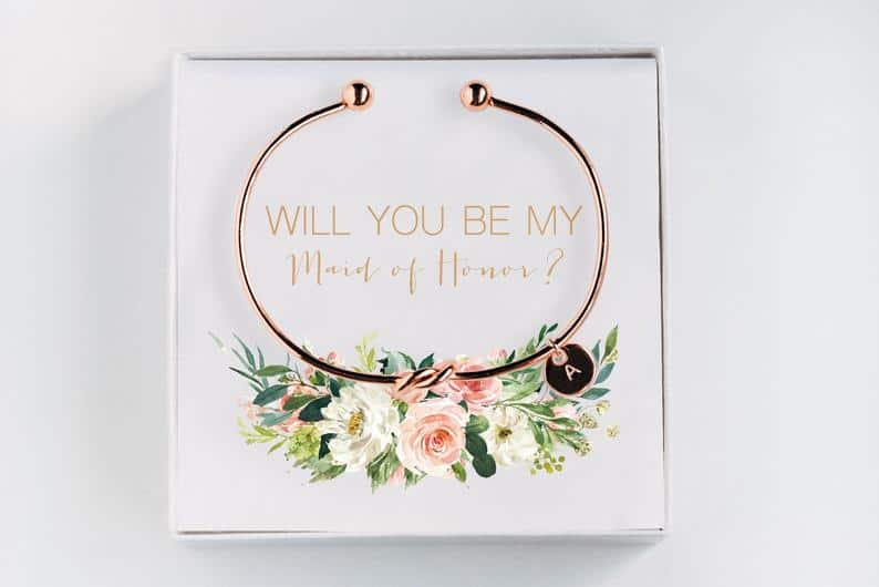 gift for matron of honor:Will you be my Maid of Honor Initial Bracelet