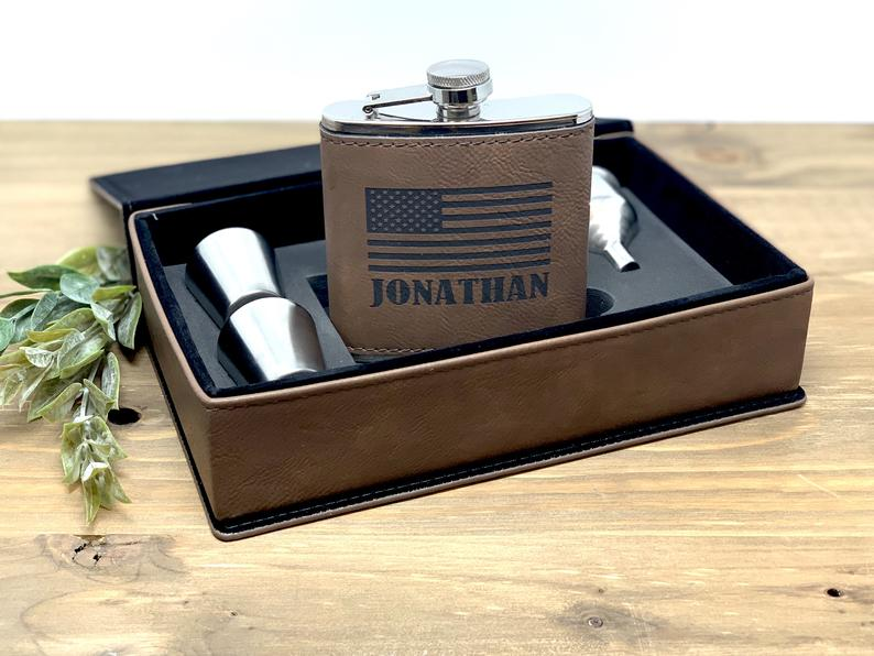 bachelor party gifts - leather flask