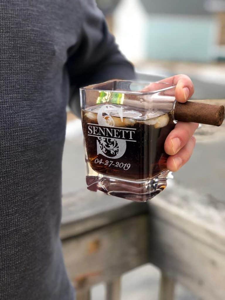 cigar whiskey glass holder