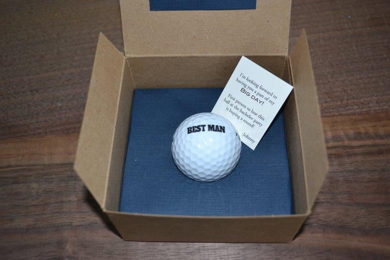 best man gift ideas from groom - golf ball proposal