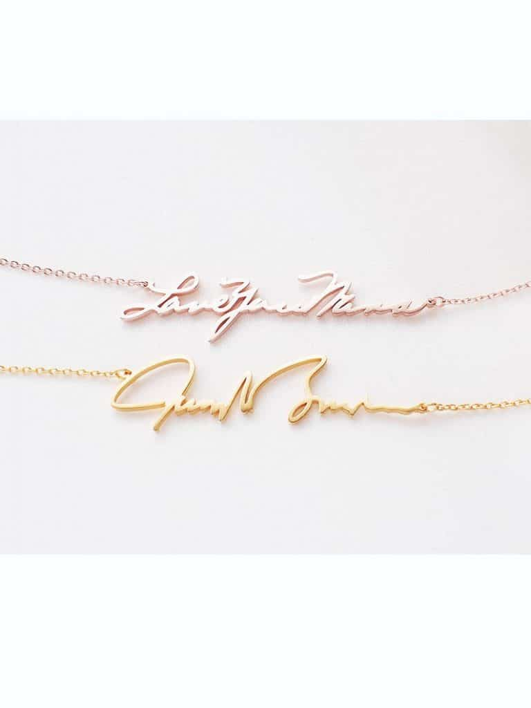 bridesmaid gift ideas - handwriting necklace gift