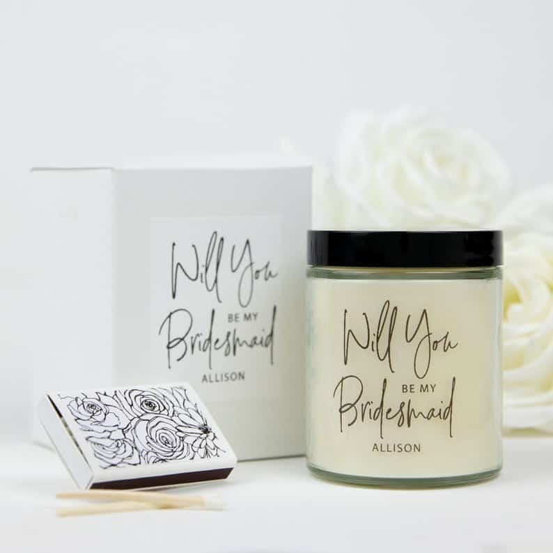 bridesmaid gifts - soy candle