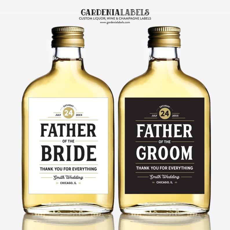Father of the groom gifts - label