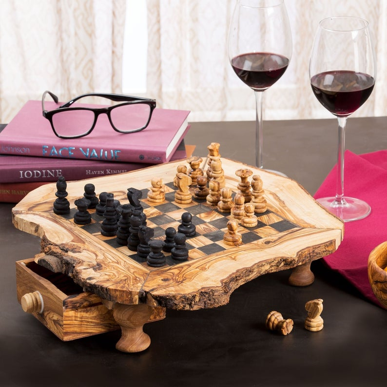rustic chess set board