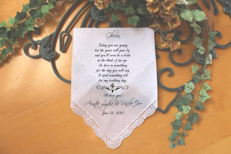 flower girl gifts - personalized handkerchief