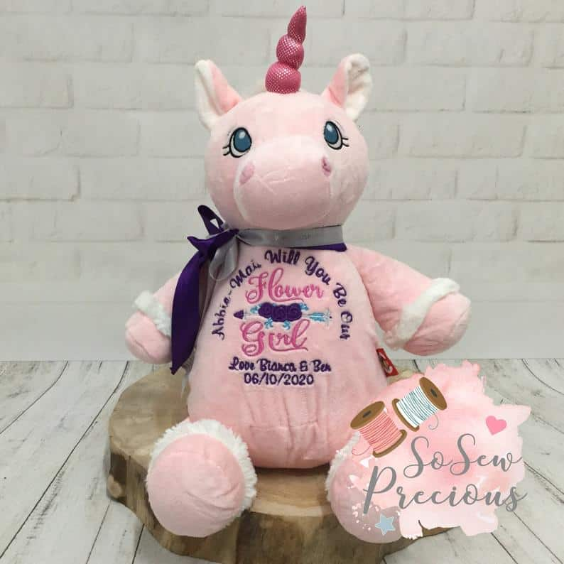flower girl gifts - unicorn teddy bear