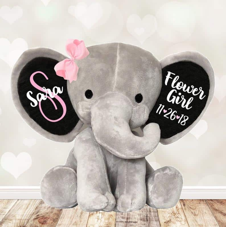 flower girl gift ideas - personalized elephant teddy bear